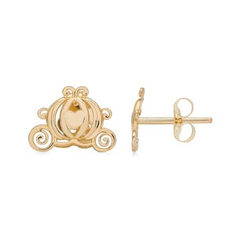 Disney Princess Cinderella 14K Gold Pumpkin Carriage Stud Earrings