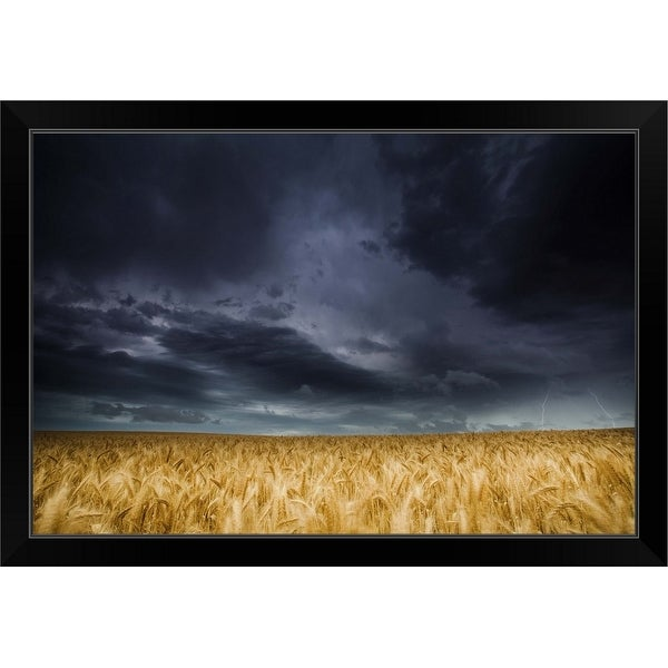 """Lightning strike over wheat fields, Australia"" Black Framed Print"