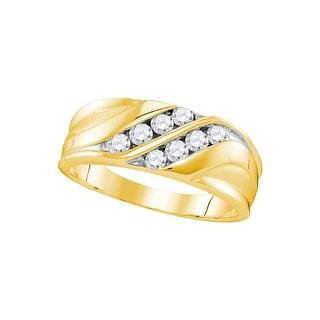 10kt Yellow Gold Mens Round Natural Diamond Band Wedding Anniversary Ring 1/2 Cttw - White