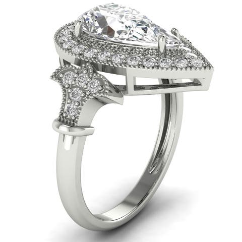 1.34 CT Antique Round & Pear Diamond Halo Ring 1 CT Center in 14KT