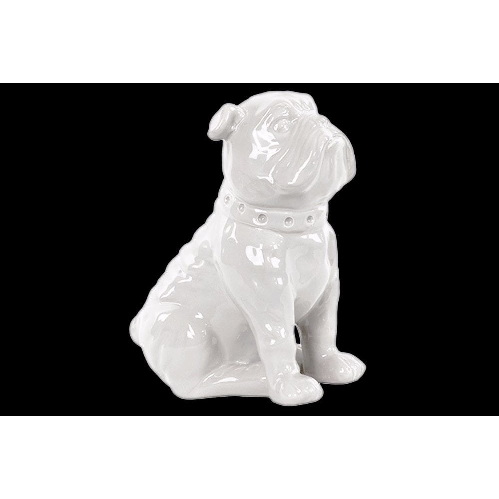 Ceramic Sitting British Bulldog Figurine with Collar, Glossy White