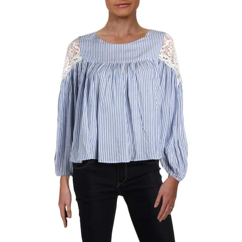 Aqua Womens Pullover Top Striped Long Sleeves