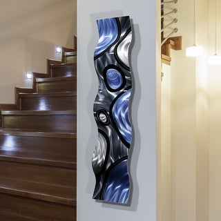 Statements2000 Blue/Silver Abstract Metal Wall Art Accent Sculpture Decor by Jon Allen - Rains of Blue Wave