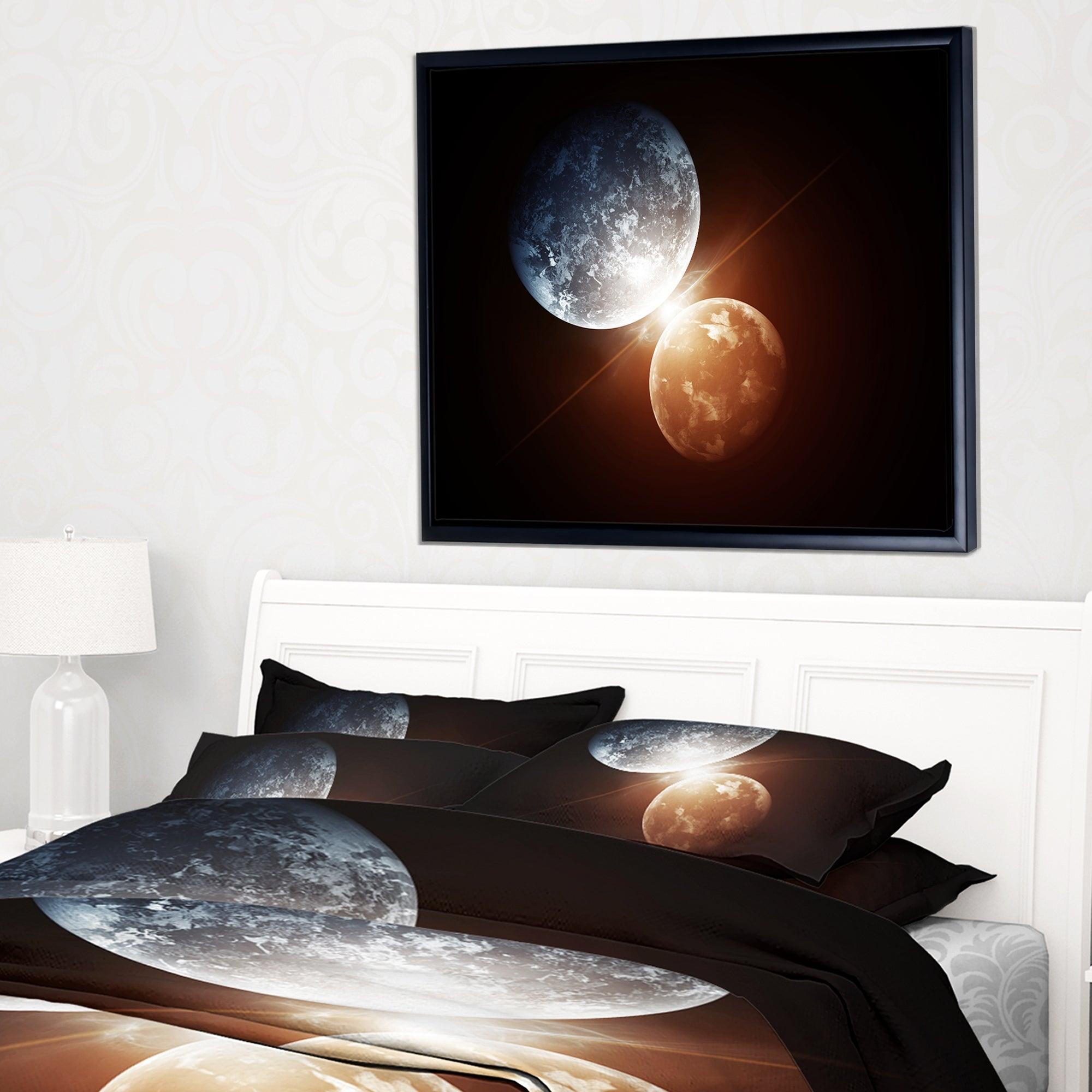 Designart Kiss Between Two Planets Spacescape Framed Canvas Art Print Overstock 18953114