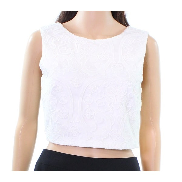 b08506754de5c5 Shop Lucy Paris NEW White Womens Medium M Crop Floral Embroidered Tank Top  - Free Shipping On Orders Over $45 - Overstock.com - 19269403