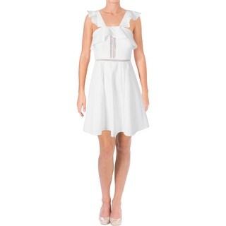 Aqua Womens Cocktail Dress Ruffled Crochet Trim White L
