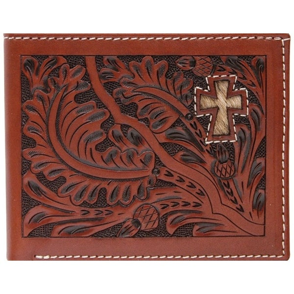 3D Wallet Men Leather Bifold Tooled Acorn Cross Hair Tan - One size