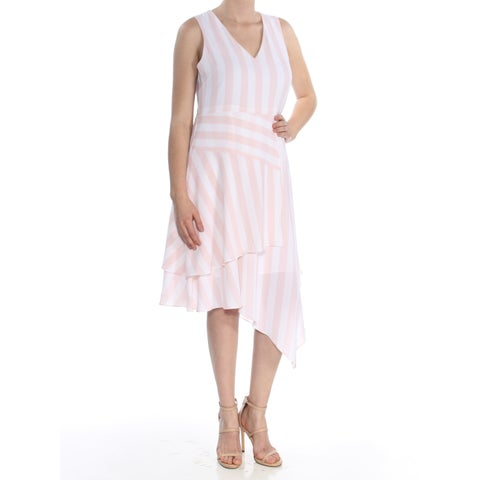 VINCE CAMUTO Womens Pink Striped Asymmetrical V Neck Below The Knee Fit + Flare Dress Size: 8