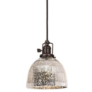 """JVI Designs 1201-08-S5-SR Union Square 1 Light 8"""" Tall Pendant with Antique Mercury Ribbed Mouth-Blown Glass Shade"""