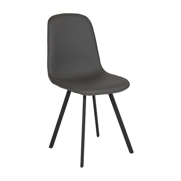 Offex Contemporary Curvaceous Padded Kitchen Dining Chair in Light Gray Vinyl Upholstery
