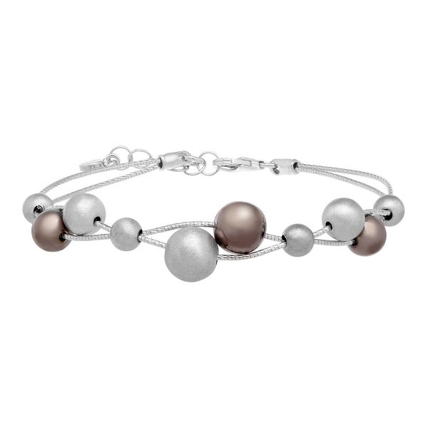 Station Bead Bracelet in Sterling Silver - White