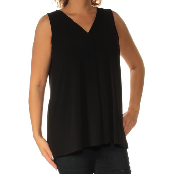 9f408985bf828 Shop ALFANI  49 Womens New 1813 Black V Neck Sleeveless Casual Top L B+B -  Free Shipping On Orders Over  45 - Overstock - 23457421