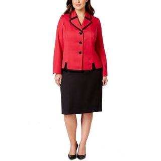 Le Suit NEW Red Black Women's Size 24W Plus Contrast Skirt Suit Set