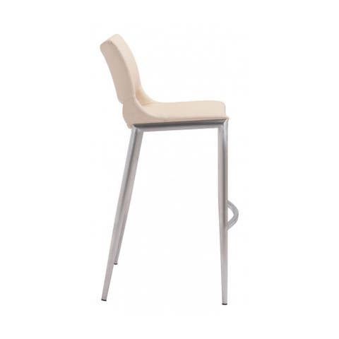 """Offex Ace Bar Chair with Built-in Curved Footrest Light Pink & Silver - 21.7""""L x 20.9""""W x 40.9""""H."""