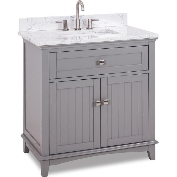 "Jeffrey Alexander VN-SAV-36-EC Savino 36"" Free Standing Single Basin Vanity Set with Wood Cabinet and Engineered Marble Vanity"