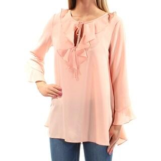 MAX STUDIO Womens New 1392 Pink Ruffled Bell Sleeve Jewel Neck Casual Top S B+B