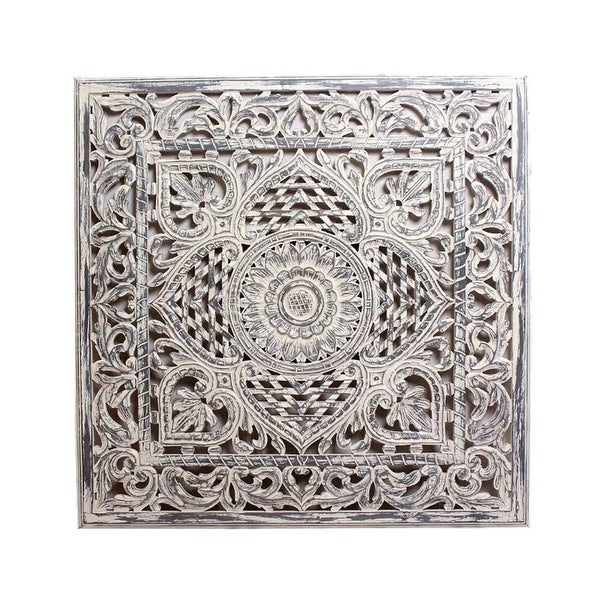 "48"" White Distressed Vintage Glamour Style Square Carved Out Panel - N/A"