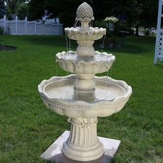3-Tier Pineapple Outdoor Garden Patio Water Fountain - White Finish - 51-Inch