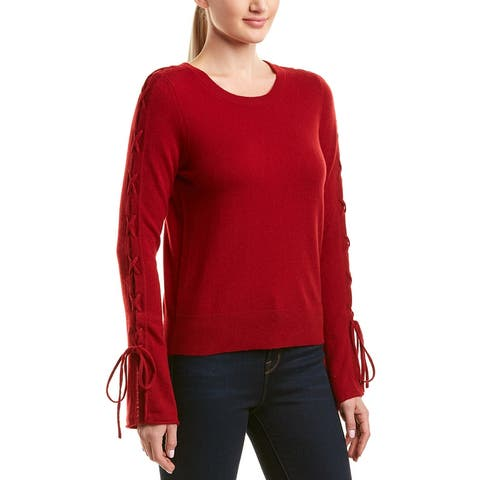 White + Warren Wool & Cashmere-Blend Lace-Up Sleeve Sweater