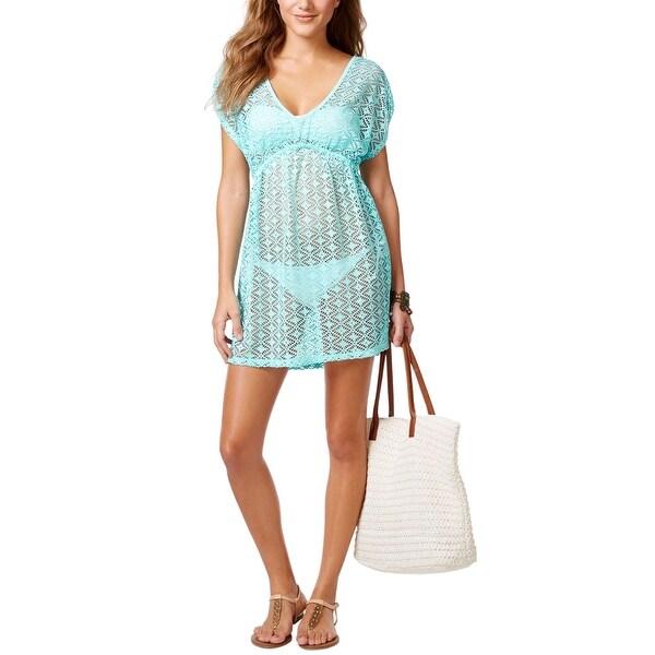 Miken Crochet Tunic Womens Cover Up Dress Aqua Blue X-Small