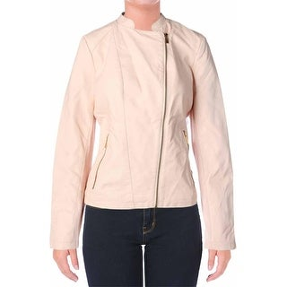 Calvin Klein Womens Faux Leather Long Sleeves Motorcycle Jacket - L