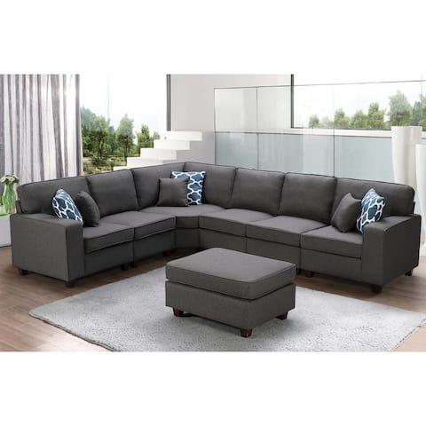 Casanova Dark Grey Linen 7-piece Modular Sectional Sofa and Ottoman