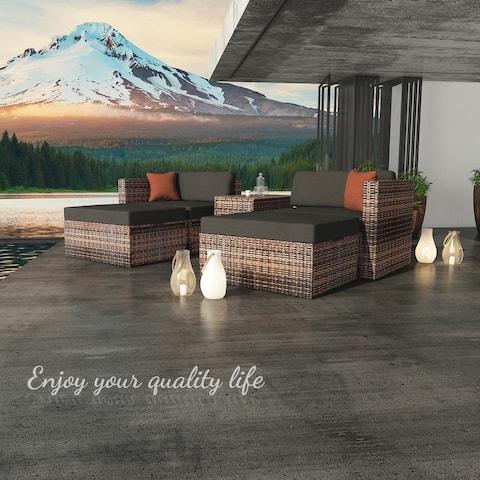 Direct Wicker Sectional 5 Pieces Garden Patio Conversation Sofa Set