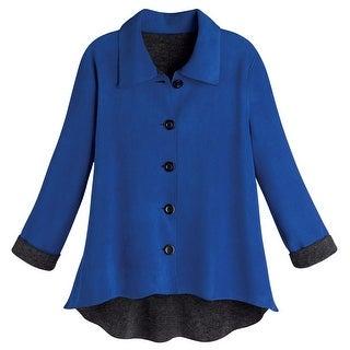 Women's Tunic Jacket - Reversible Fleece Sweater - Royal Blue - xL