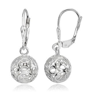 Link to Mondevio Polished Sterling Silver Filigree Hollow Ball Dangle Earrings Similar Items in Glasses & Barware