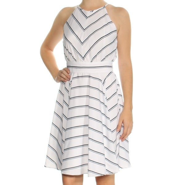 38b145d749 Shop MAISON JULES Womens White Striped Sleeveless Jewel Neck Knee Length Fit  + Flare Dress Size: 2XS - On Sale - Free Shipping On Orders Over $45 ...
