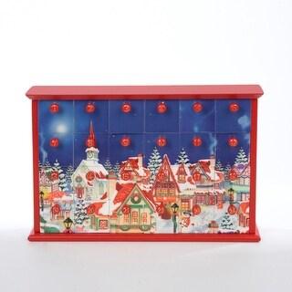 "12.5"" Festive Winter Village Scene Wooden Christmas Advent Calendar"