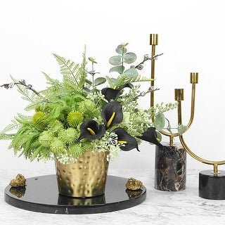 FloralGoods Faux Lily in Green Plant Table Centerpiece - Black