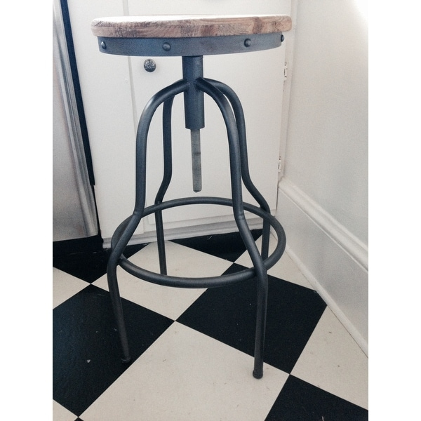 Aurelle Home Percy Rustic Antique Wood And Iron Industrial Style Bar Stool    Free Shipping Today   Overstock.com   16669190