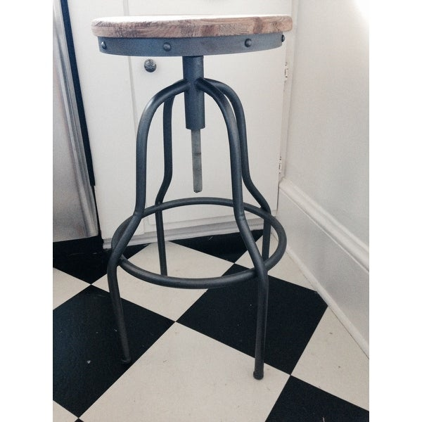 Percy Rustic Antique Wood And Iron Industrial Style Bar Stool   Free  Shipping Today   Overstock.com   16669190