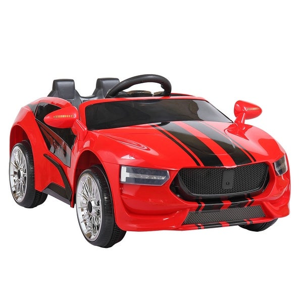 """Electric children sports car-red black - 7'6"""" x 9'6"""". Opens flyout."""