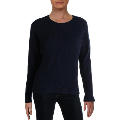 ATM Womens Pullover Sweater Cotton Cable - Navy - S