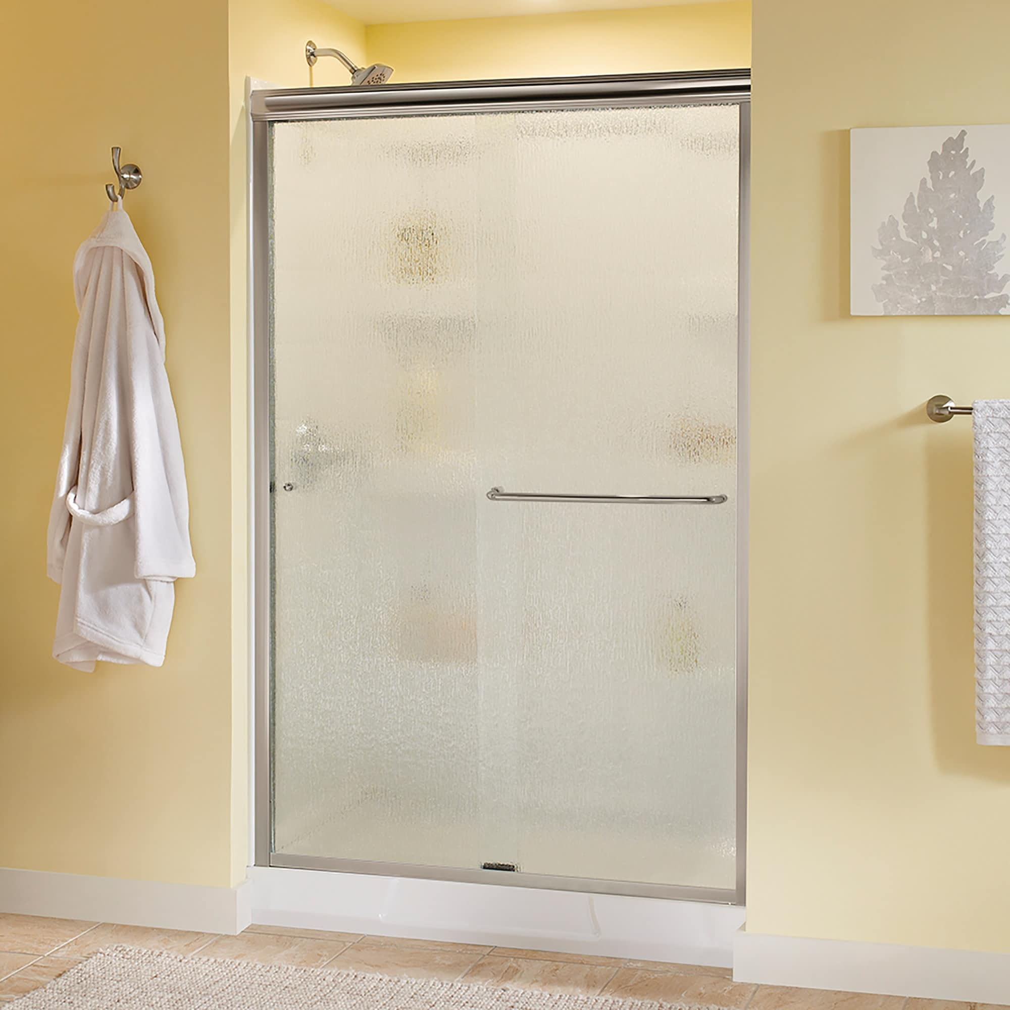 Delta Sd3956972 Classic 70 High X 47 3 8 Wide Sliding Semi Frameless Shower Door With Frosted Glass Nickel