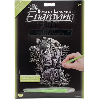 "Silver Foil Engraving Art Kit 8""X10""-Rhinocerous & Baby"