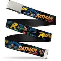 Blank Chrome  Buckle Batman & Robin In Action W Text Black Webbing Web Belt