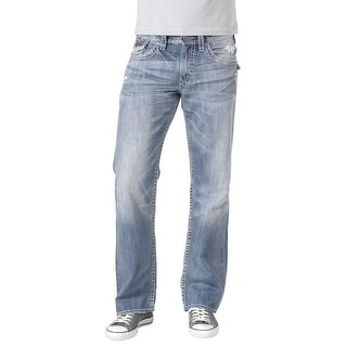 Silver Jeans Denim Mens Zac Relaxed Distressed Light Wash M4491LD149