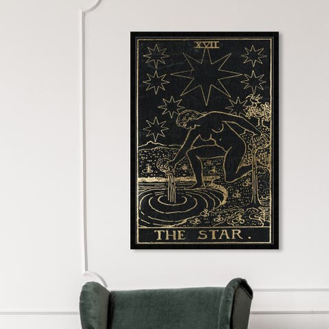 Oliver Gal 'The Star Tarot' Astronomy and Space Wall Art Framed Print Zodiac - Black, Gold