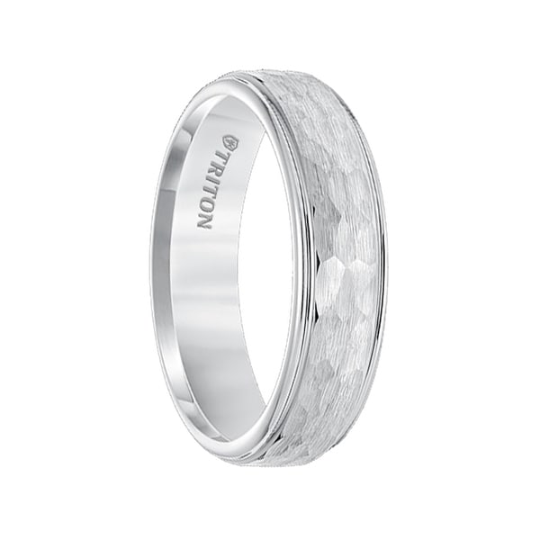 BESART Raised Hammer Finished Center White Tungsten Ring with Polish Finished Step Edges by Triton Rings - 6mm