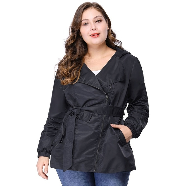 Women's Plus Size Zip Closure Hooded Belted Trench Jacket - Blue