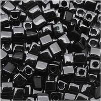 Miyuki 4mm Glass Cube Beads Opaque Black 401 10 Grams