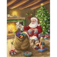 Christmas Santa Claus Unloading Toys Flag Garden Size