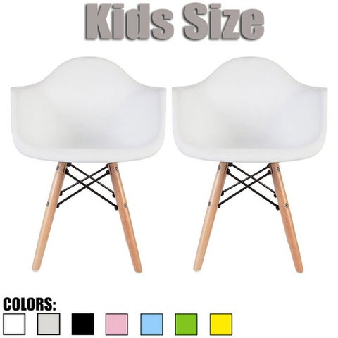 2xhome - Set of 2, White Kids Size Armchair Natural Wood legs Children