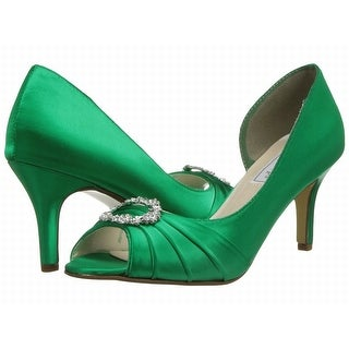 Touch Ups NEW Green Emerald Shoes Size 5M Open Toe Leather Heels