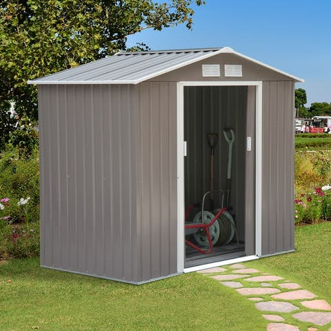 Outsunny Metal Outdoor Shed Organizer & Garden Storage