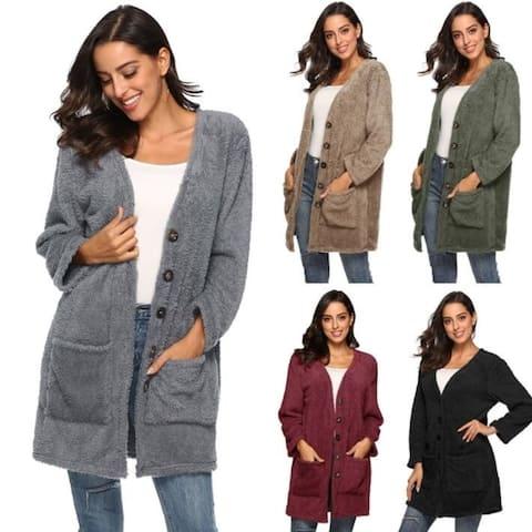 c5dd728e74f Women Cardigan Coat Oversized Open Front Pockets Cardigan Jacket