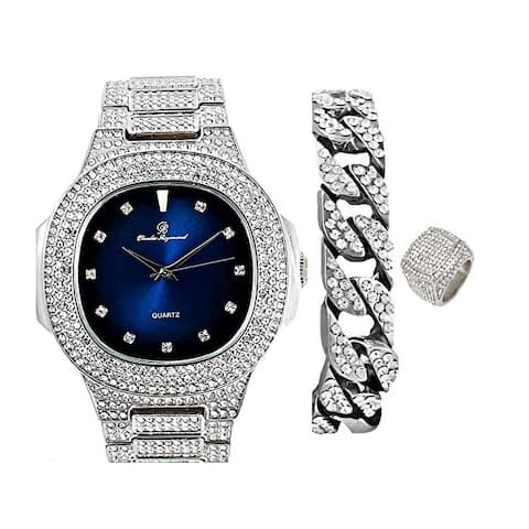 Bling-ed Out Oblong Case Mens PP Look Watch, Cuban Bracelet and Ring Set - 8475 CR Set